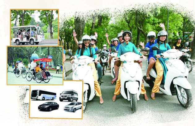 Transportation in Hanoi, cyclo, tram, private transfer, taxi, motorbike, shuttle bus
